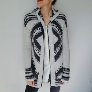 Free People Knit Tribal Zip Up Hooded Cardigan